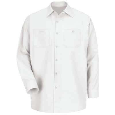 Men's Size L (Tall) White Industrial Work Shirt