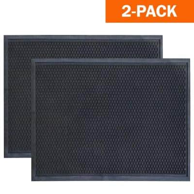 36 in. x 60 in. Slotted Scraper Industrial Anti-Fatigue Home Restaurant Bar Commercial Rubber Floor Mat (2-Pack)