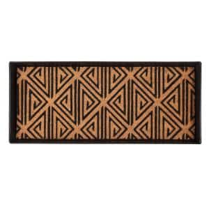 34.5 in. x 14 in. x 1.5 in. Black Metal Boot Tray with Tan & Black Tribal Coir Insert