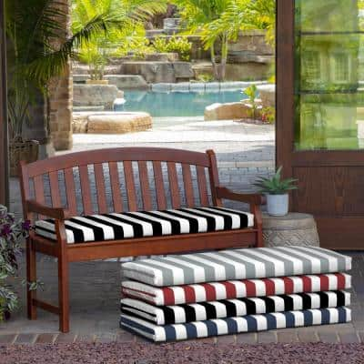 Rectangle Outdoor Bench Cushion in Black Cabana Stripe