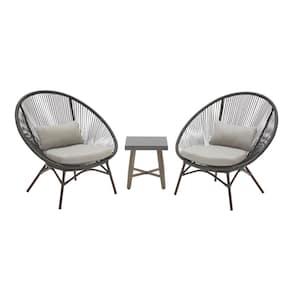 Dark Gray 3-Piece Steel Papasan Rope Outdoor Patio Conversation Seating Set with Gray Cushion
