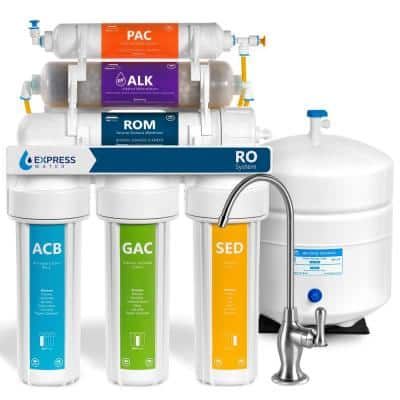 Express Water Reverse Osmosis Alkaline Water Filtration System – 10 Stage RO Water Filter with Faucet and Tank – 50 GPD
