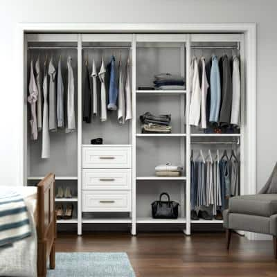 91 in. W White Adjustable Tower Wood Closet System with 3 Drawers and 15 Shelves