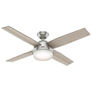 Dempsey 52 in. LED Indoor Brushed Nickel Ceiling Fan with Light and Remote