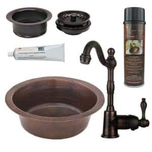 Bronze 16 Gauge Copper 14 in. Dual Mount Bar Sink with Faucet and Garbage Disposal Drain