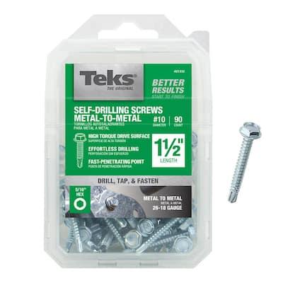 #10 1-1/2 in. External Hex Flange Hex-Head Self-Drilling Screws (90-Pack)