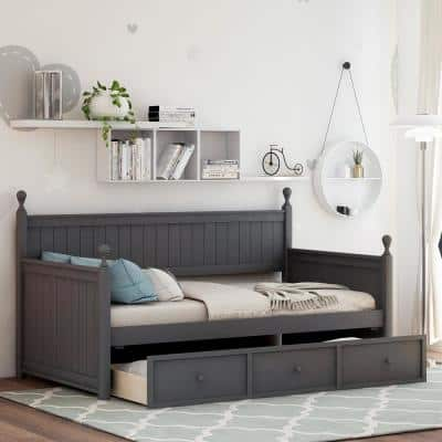 Gray Wood Twin Size Daybed with Three Drawers