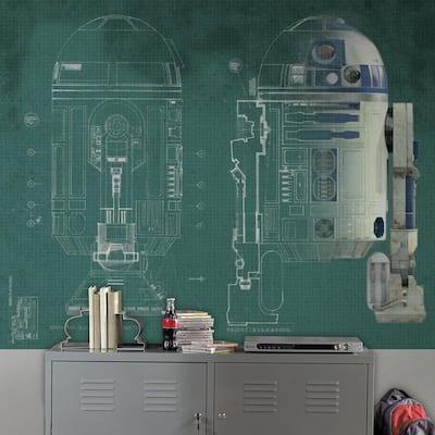 90 in. x 72 in. Star Wars R2-D2 Prepasted Mural 5-Panel Prepasted Mural