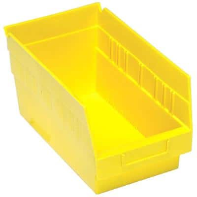 Store-More 6 in. Shelf 8 Qt. Storage Tote in Yellow (30-Pack)