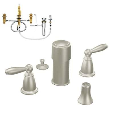 Brantford 2-Handle Bidet Faucet in Brushed Nickel (Valve Included)