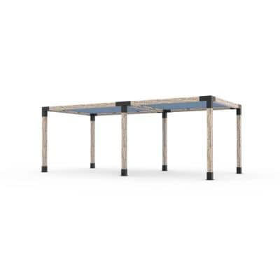 10 ft. L x 22 ft. W Double Pergola Kit with 2 Denim Shade Sails for 6x6 wood