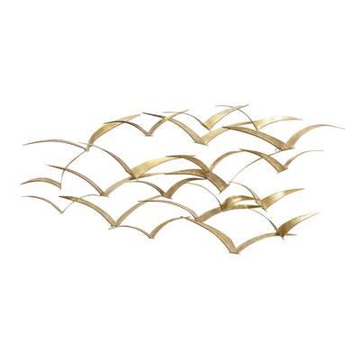 21 in. x 47 in. Gold Metal Coastal Birds Wall Decor