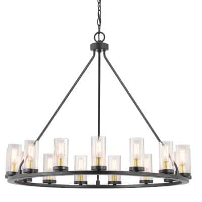 Hartwell 32-5/8 in. 15-Light Bronze Farmhouse Wagon Wheel Chandelier with Brass Accents & Clear Seeded Glass