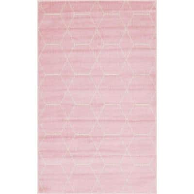 Trellis Frieze Light Pink/Ivory 5 ft. x 8 ft. Geometric Area Rug