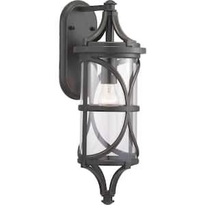 Morrison Collection 1-Light Antique Bronze Clear Glass Modern Outdoor Medium Wall Lantern Light