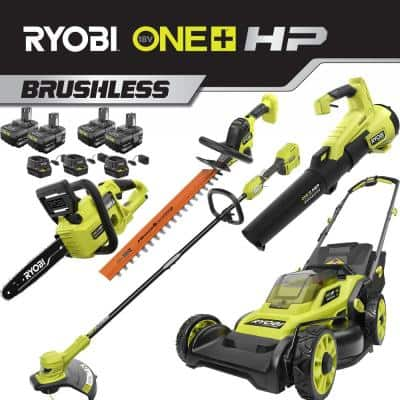 RYOBI - ONE+ HP 18V Lithium Cordless Battery Walk Behind Push Lawn Mower/Trimmer/Blower/Hedge/Chainsaw - 4 Batteries/3 Chargers