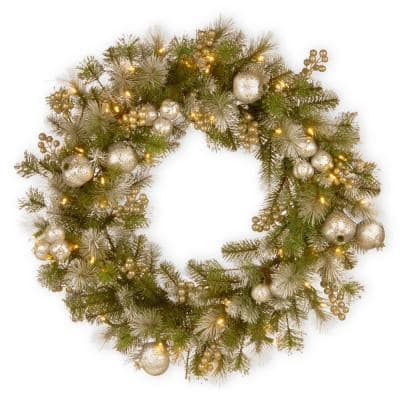 24 in. Battery Operated Glittery Pomegranate Pine Wreath with LED Lights