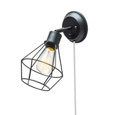 Evans 1-Light Matte Black Plug-In or Hardwire Wall Sconce with 6 ft. Cord