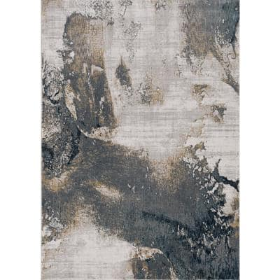 Lara Expressions Grey 8 ft. x 11 ft. Abstract Area Rug