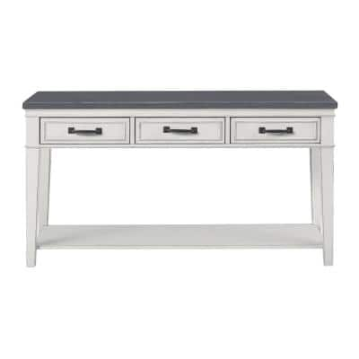 Del Mar 55 in. Antique White/Gray Standard Rectangle Wood Console Table with Drawers