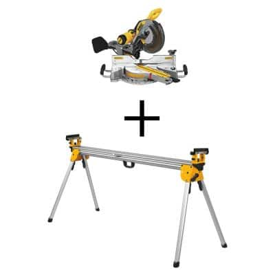 15 Amp Corded 12 in. Double-Bevel Sliding Compound Miter Saw with Heavy-Duty Miter Saw Stand