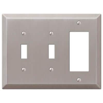 Metallic 3 Gang 2-Toggle and 1-Rocker Steel Wall Plate - Brushed Nickel