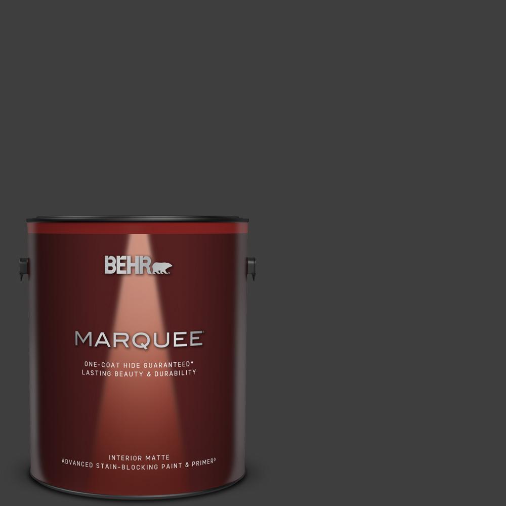 1 gal. #T13-3 Black Lacquer Matte Interior Paint & Primer