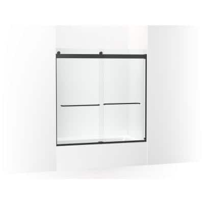 Levity 59.625 in. W x 59.75 in. H Sliding Semi Frameless Tub Door in Matte Black with Handle and Clear Glass