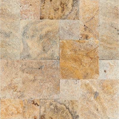 Tuscany Scabas Pattern Tumbled Travertine Paver Kits (360 Pieces/480 sq. ft./Pallet)