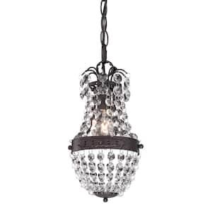 Camborne 1-Light Dark Bronze Mini Pendant with Clear Crystal