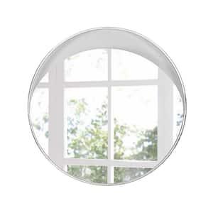 Danielle 40 in. x 40 in. Classic Round Framed White Vanity Mirror