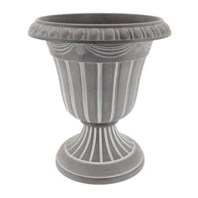 Traditional 16 in. x 18 in. Whitewash Plastic Urn