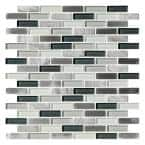 Helsinki Blue 12.76 in. x 12.05 in. Brick Joint Polished/Brushed Marble Glass Metal Mosaic Wall Tile (0.97 sq. ft./Each)