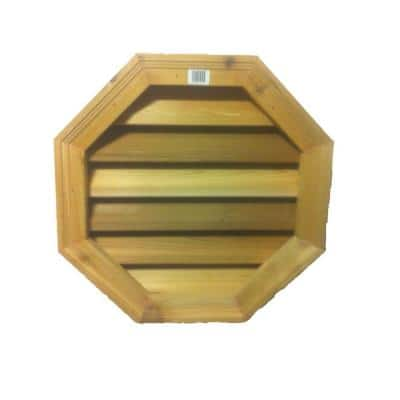 18 in. x 18 in. Round Wood Built-in Screen Gable Louver Vent