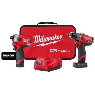 M12 FUEL 12-Volt Lithium-Ion Brushless Cordless Surge Impact and Drill Combo Kit (2-Tool) with 2 Batteries and Bag