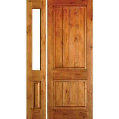 44 in. x 80 in. Rustic Unfinished Knotty Alder Sq-Top VG Right-Hand Left Half Sidelite Clear Glass Prehung Front Door