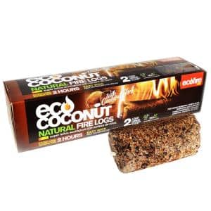 All-Natural Eco Coconut Fire Log with Wick for Fireplace, Bonfire, Camping, Campfire with 1-Hour Burn Time (6-Pack)
