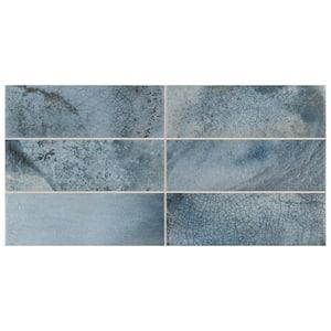 Kings Raku Blue 15-3/4 in. x 7-7/8 in. Ceramic Wall Tile (10.71 sq. ft./Case)