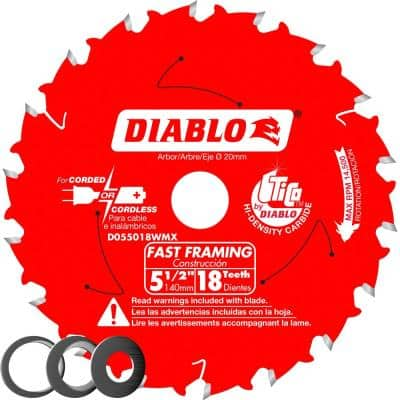 5-1/2 in. x 18-Tooth Fast Framing Circular Saw Blade with Bushings