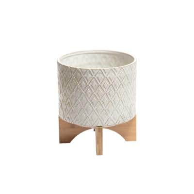Large 10.5 in. H White and Brown Diamond Patterned Ceramic Flower Pot with Wooden Stand