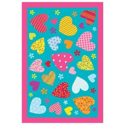 Fun Time Hearts Turquoise 3 ft. x 5 ft. Area Rug