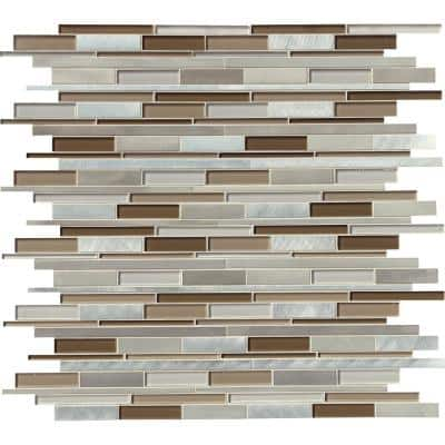 Madison Avenue Interlocking 12 in. x 12 in. x 8 mm Glass/Metal Mosaic Wall Tile (1 sq. ft.)