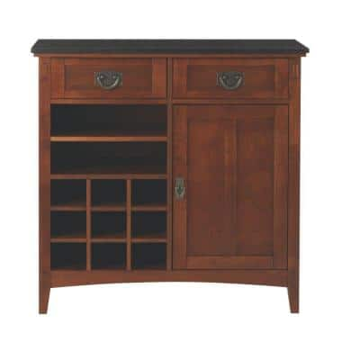 Artisan 36 in. 2-Drawer Wood Bar Cabinet in Medium Oak