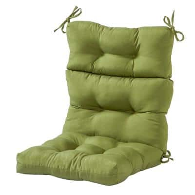 Solid Summerside Green Outdoor High Back Dining Chair Cushion
