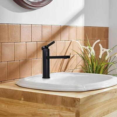 Single Handle Single Hole Deck Mount Bathroom Faucet with Long Spout Reach in Matte Black