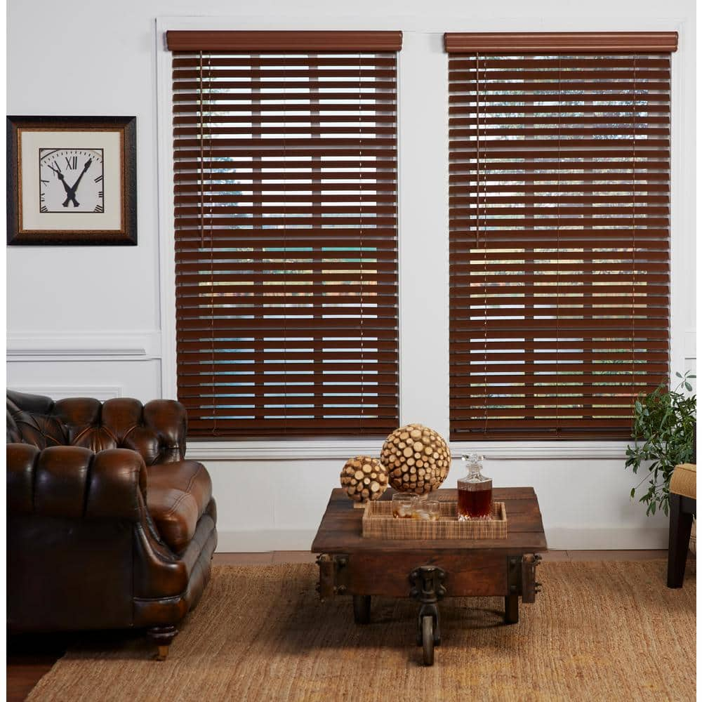Perfect Lift Window Treatment Dark Oak 2 In Cordless Room Darkening Faux Wood Blind 28 25 In W X 64 In L Actual Size 28 25 In W X 64 In L Qjbk282640 The Home Depot