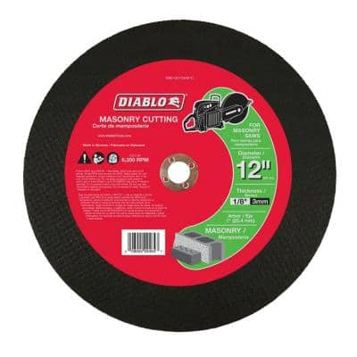 12 in. x 1/8 in. x 1 in. Masonry High Speed Cut-Off Disc