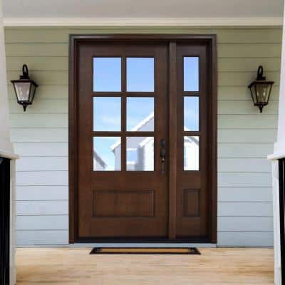 54 in. x 80 in. Savannah Clear 6 Lite LHIS Mahogany Stained Wood Prehung Front Door with Single 14 in. Sidelite