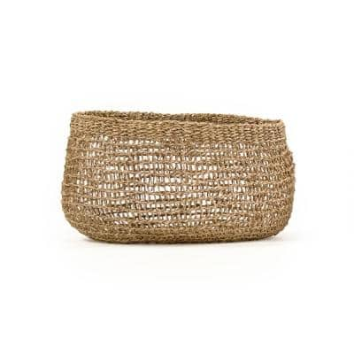 Wide Sparsely Hand Woven Seagrass Large Basket without Handles