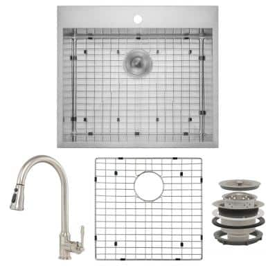 Handmade All-in-One Drop-in Stainless Steel 25 in. x 22 in. Sink Grid Pull-down Faucet 1-hole Single Bowl Kitchen Sink